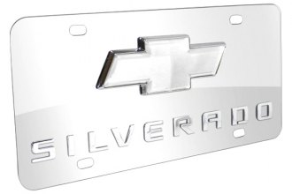 DWD® - 3D Silverado Logo on Chrome Stainless Steel License Plate with Chrome Bowtie