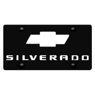 iPickimage® - 3D Silverado Logo on Black Stainless Steel License Plate with Chrome Bowtie