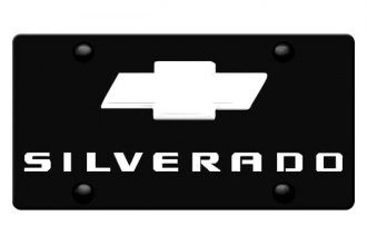 DWD® - 3D Silverado Logo on Black Stainless Steel License Plate with Chrome Bowtie