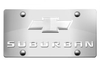 DWD® - 3D Suburban Logo on Chrome Stainless Steel License Plate with Chrome Bowtie
