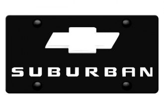 DWD® - 3D Suburban Logo on Black Stainless Steel License Plate with Chrome Bowtie