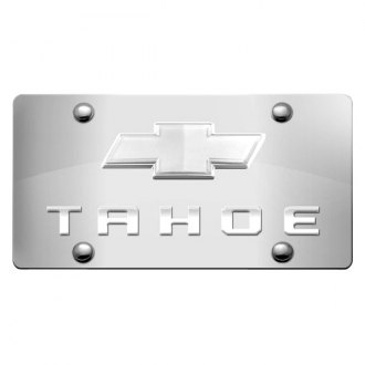 iPickimage® - 3D Tahoe Logo on Chrome Stainless Steel License Plate with Chrome Bowtie