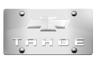 DWD® - 3D Tahoe Logo on Chrome Stainless Steel License Plate with Chrome Bowtie
