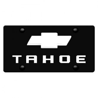 iPickimage® - 3D Tahoe Logo on Black Stainless Steel License Plate with Chrome Bowtie