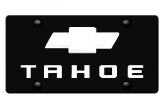 DWD® - 3D Tahoe Logo on Black Stainless Steel License Plate with Chrome Bowtie