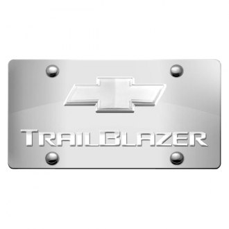 iPickimage® - 3D Trailblazer Logo on Chrome Stainless Steel License Plate with Chrome Bowtie