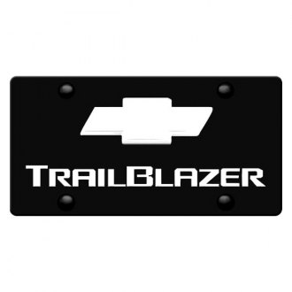 iPickimage® - 3D Trailblazer Logo on Black Stainless Steel License Plate with Chrome Bowtie
