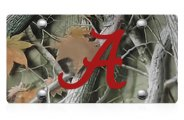 DWD® - 3D Alabama A Logo on Camo Stainless Steel License Plate
