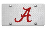 DWD� - 3D Alabama A Logo on D-Plate Stainless Steel License Plate