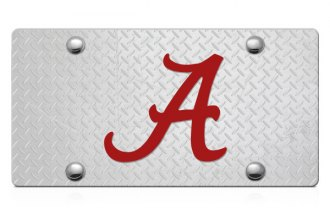 DWD® - 3D Alabama A Logo on D-Plate Stainless Steel License Plate