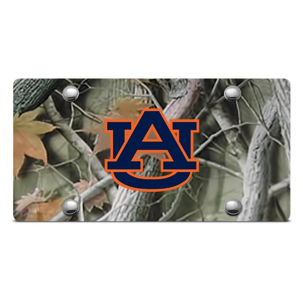 DWD® - 3D Auburn AU Logo on Camo Stainless Steel License Plate