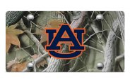 DWD� - 3D Auburn AU Logo on Camo Stainless Steel License Plate
