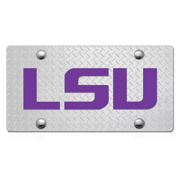 DWD® - 3D LSU Logo on D-Plate Stainless Steel License Plate