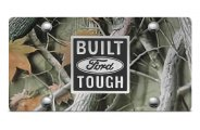 DWD� - 3D Built Ford Tough Logo on Camo Stainless Steel License Plate