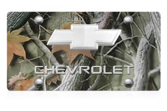 DWD® - 3D Chevy Logo on Camo Stainless Steel License Plate with Chrome Bowtie