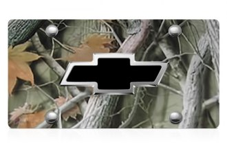 DWD® - 3D Black Bowtie on Camo Stainless Steel License Plate