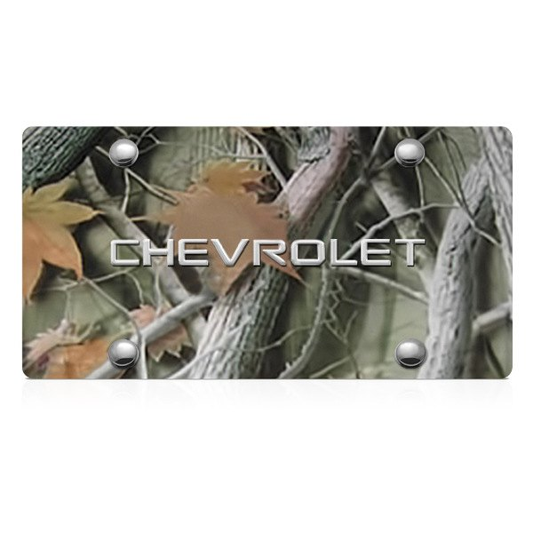 DWD® - 3D Chevy Logo on Camo Stainless Steel License Plate