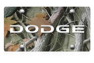 DWD® - 3D Dodge Logo on Camo Stainless Steel License Plate