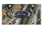 DWD® - 3D Ford Oval Logo on Camo Stainless Steel License Plate