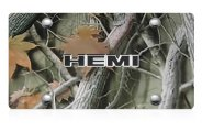 DWD® - 3D Hemi Logo on Camo Stainless Steel License Plate