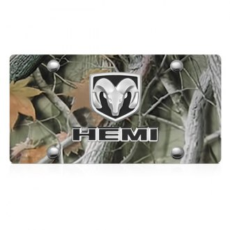 iPickimage® - 3D Hemi Logo on Camo Stainless Steel License Plate with Ram