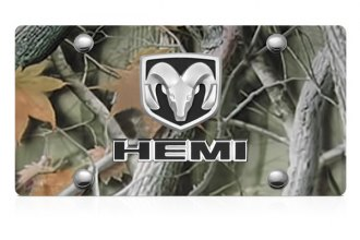 DWD® - 3D Hemi Logo on Camo Stainless Steel License Plate with Ram