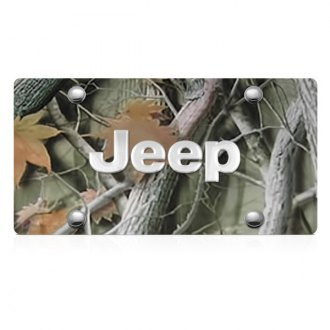DWD® - 3D Jeep Logo on Camo Stainless Steel License Plate