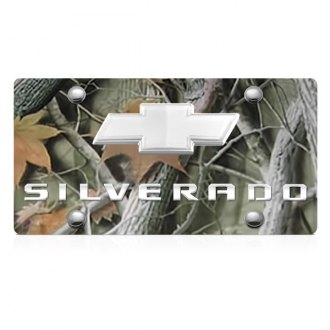 DWD® - 3D Silverado Logo on Camo Stainless Steel License Plate with Chrome Bowtie