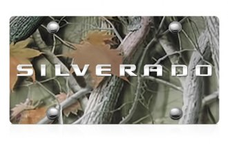 DWD® - 3D Silverado Logo on Camo Stainless Steel License Plate