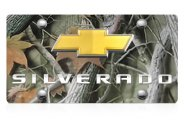 DWD® - 3D Silverado Logo on Camo Stainless Steel License Plate with Gold Bowtie