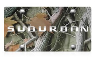 DWD® - 3D Suburban Logo on Camo Stainless Steel License Plate