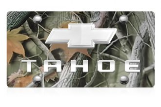 DWD® - 3D Tahoe Logo on Camo Stainless Steel License Plate with Chrome Bowtie