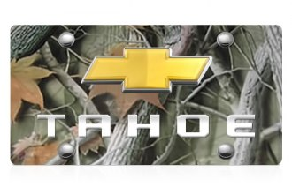 DWD® - 3D Tahoe Logo on Camo Stainless Steel License Plate with Gold Bowtie
