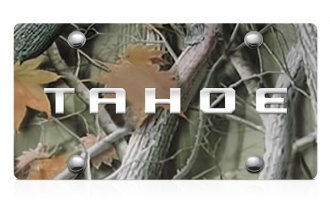 DWD® - 3D Tahoe Logo on Camo Stainless Steel License Plate