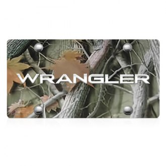 DWD® - 3D Wrangler Logo on Camo Stainless Steel License Plate