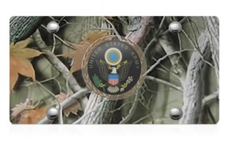 DWD® - 3D Army Logo on Camo Stainless Steel License Plate