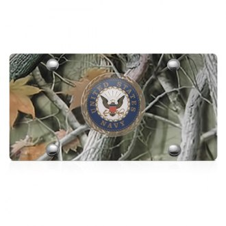 DWD® - 3D Navy Logo on Camo Stainless Steel License Plate