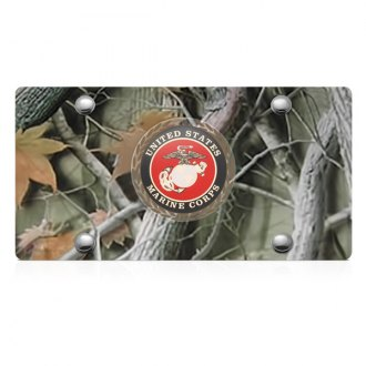 DWD® - 3D Marines Logo on Camo Stainless Steel License Plate