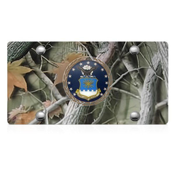 DWD® - 3D Air Force Logo on Camo Stainless Steel License Plate