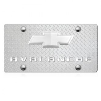 iPickimage® - 3D Avalanche Logo on Diamond Stainless Steel License Plate with Chrome Bowtie