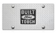 DWD® - 3D Built Ford Tough Logo on Diamond Stainless Steel License Plate