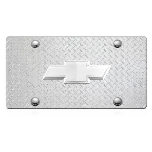 DWD® - 3D Chrome Bowtie on Diamond Stainless Steel License Plate