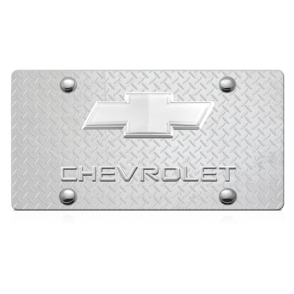 DWD® - 3D Chevy Logo on Diamond Stainless Steel License Plate with Chrome Bowtie
