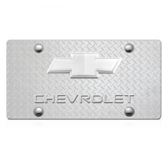 iPickimage® - 3D Chevy Logo on Diamond Stainless Steel License Plate with Chrome Bowtie