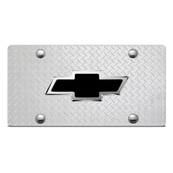 DWD® - 3D Black Bowtie on Diamond Stainless Steel License Plate