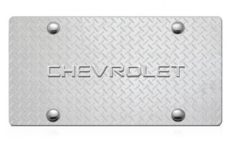 DWD® - 3D Chevy Logo on Diamond Stainless Steel License Plate