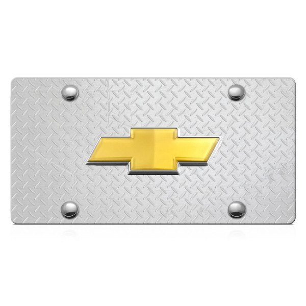 DWD® - 3D Gold Bowtie on Diamond Stainless Steel License Plate