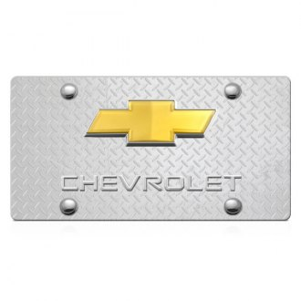 DWD® - 3D Chevy Logo on Diamond Stainless Steel License Plate with Gold Bowtie