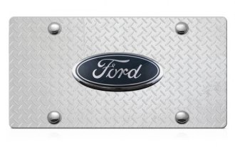 DWD® - 3D Ford Oval Logo on Diamond Stainless Steel License Plate