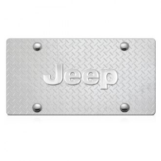 DWD® - 3D Jeep Logo on Diamond Stainless Steel License Plate